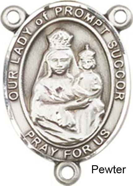 Our Lady of Prompt Succor Rosary Centerpiece Sterling Silver or Pewter - Pewter