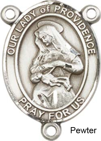 Our Lady of Providence Rosary Centerpiece Sterling Silver or Pewter - Pewter