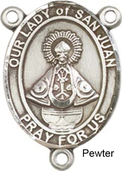 Our Lady of San Juan Rosary Centerpiece Sterling Silver or Pewter - Pewter