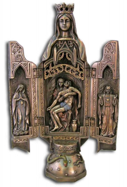 Our Lady of Sorrows Triptych, Bronzed Resin - 11 inch - Bronze