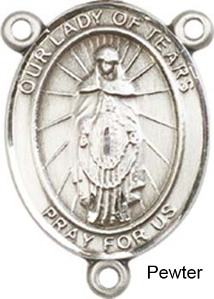 Our Lady of Tears Rosary Centerpiece Sterling Silver or Pewter - Pewter