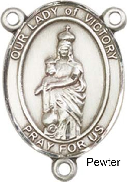 Our Lady of Victory Rosary Centerpiece Sterling Silver or Pewter - Pewter