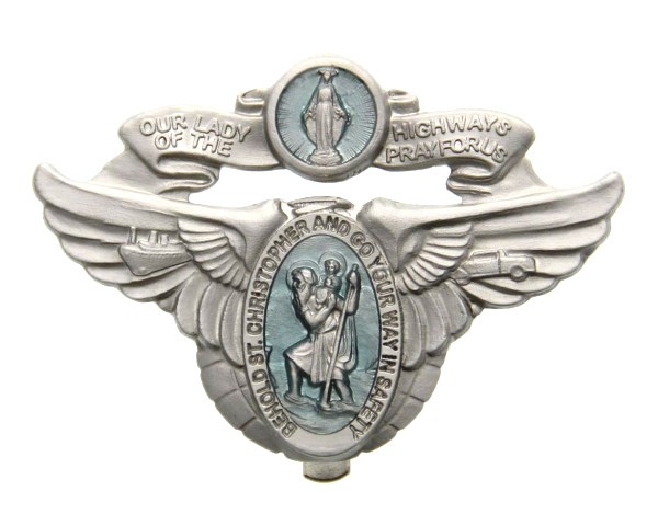 Our Lady of the Highway & St. Christopher Visor Clip - Blue | Silver