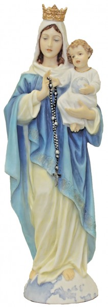 Our Lady of the Rosary Statue, Hand Painted - 11 inch - Full Color
