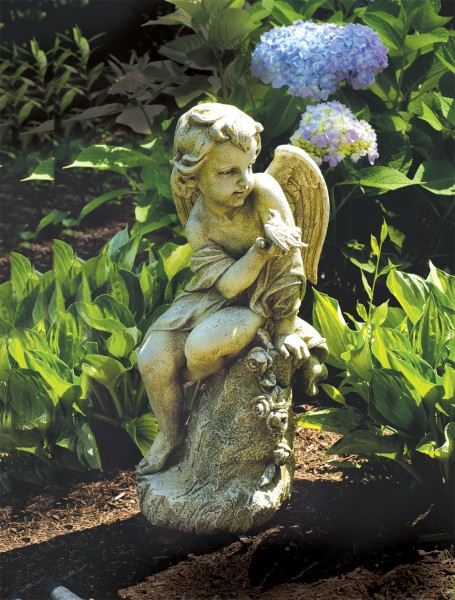 Beau Outdoor Garden Cherub With Bird On Pedestal   20u0026quot ...