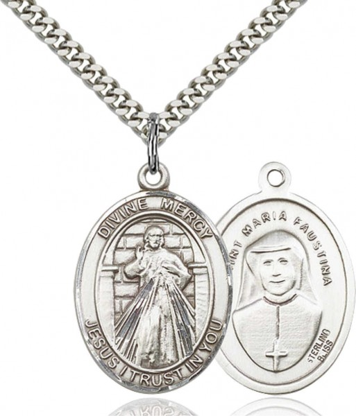 Oval Divine Mercy Medal - Pewter