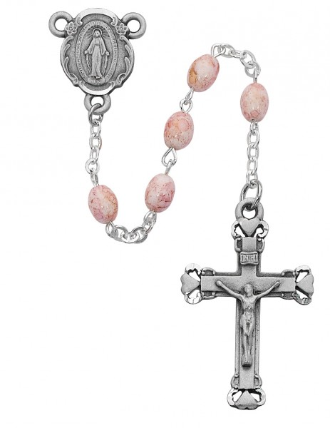 Oval Pink Crackle Effect Rosary - Pink