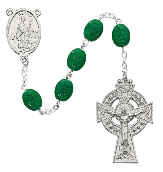 Oval Shamrock Rosary with St. Patrick Center - Green