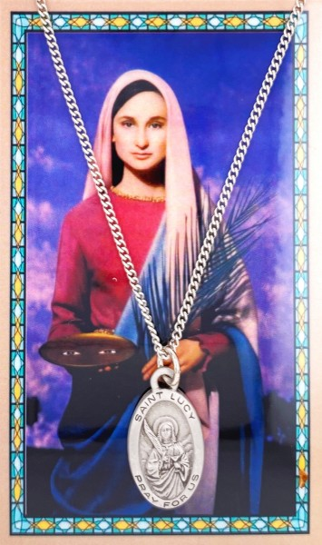Oval St. Lucy Medal with Prayer Card - Silver tone