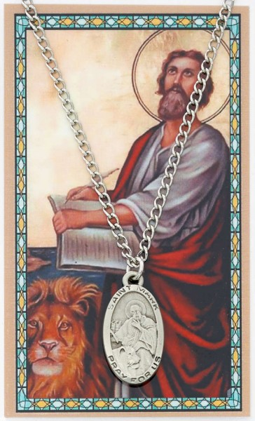 Oval St. Mark Medal with Prayer Card - Silver tone