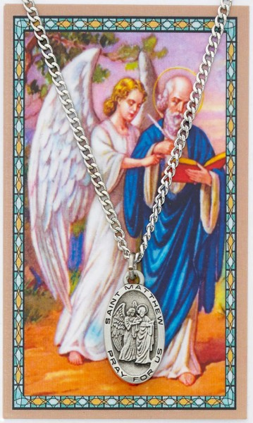 Oval St. Matthew Medal and Prayer Card - Silver tone