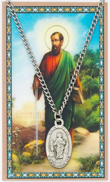Oval St. Paul Medal with Prayer Card - Silver tone