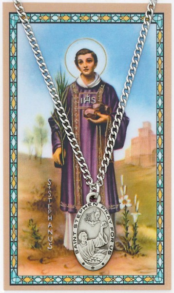 Oval St. Stephen Medal with Prayer Card - Silver tone