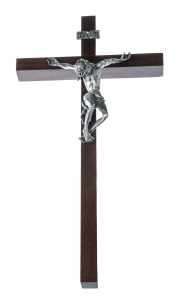 "Pained Jesus Wall Crucifix in Walnut with Antique Pewter Finish Corpus 10"" - Brown"