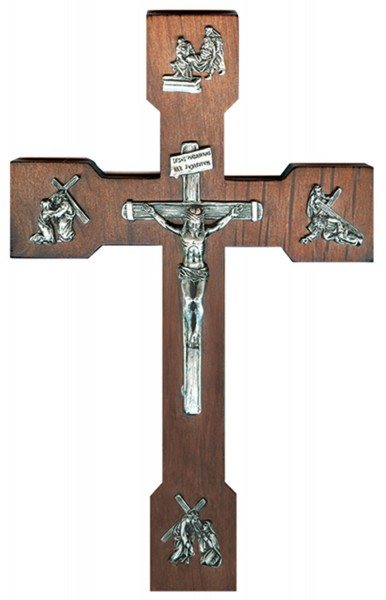 "Passion of Christ Wall Crucifix in Walnut Wood and Antique Pewter Finish Embellishments 10"" - Brown"