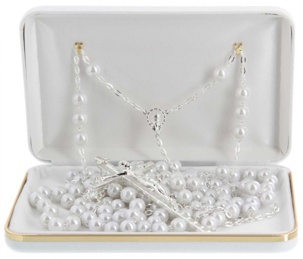 Pearl Lasso Wedding Rosary Silver Tone Accents - DeluxeBox