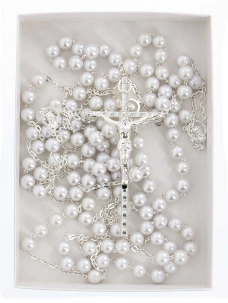 Pearl Lasso Wedding Rosary Silver Tone Accents - Without Deluxe Box