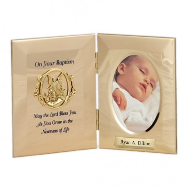 Personalized Baptism Photo Frame in Metal - Gold