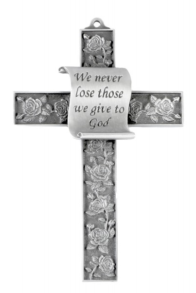 Pewter Finish Memorial Cross - Silver tone