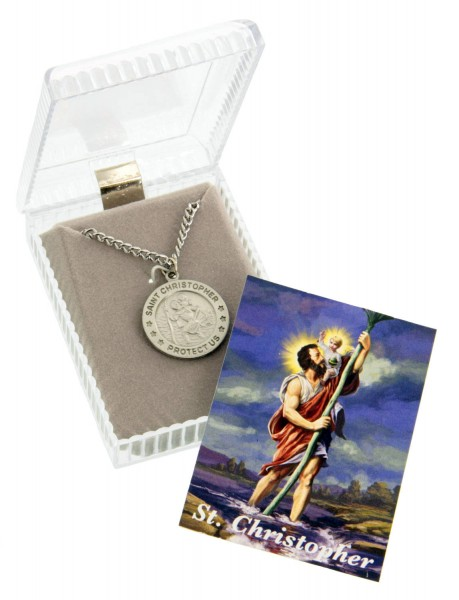 Pewter Round Saint Christopher Pendant with Prayer Card - Rhodium Plate Chain + Clasp