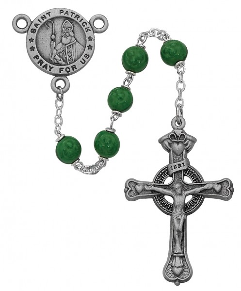 Pewter St. Patrick Rosary - Green