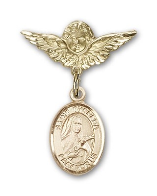 Pin Badge with St. Theresa Charm and Angel with Smaller Wings Badge Pin - 14K Solid Gold