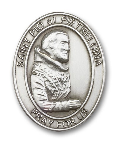 St. Pio of Pietrelcina Visor Clip - Antique Silver