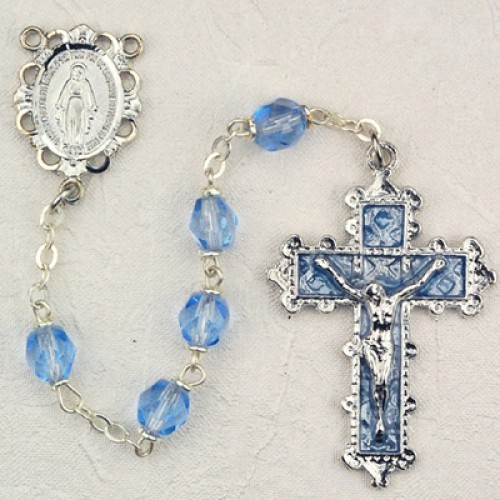 December Birthstone Rosary (Zircon) - Rhodium Plated - Light Blue