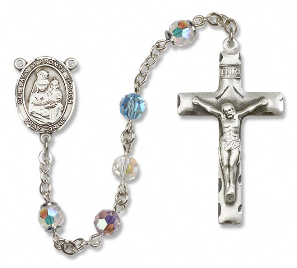 Our Lady of Prompt Succor Sterling Silver Heirloom Rosary Squared Crucifix - Multi-Color