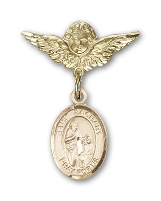 Pin Badge with St. Zachary Charm and Angel with Smaller Wings Badge Pin - Gold Tone