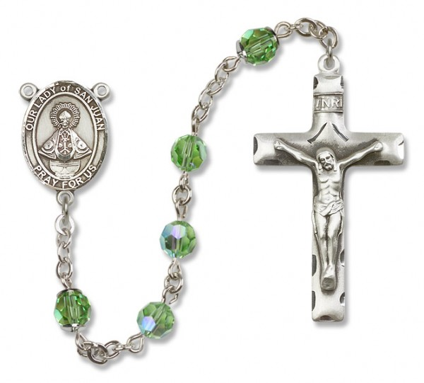 Our Lady of San Juan Sterling Silver Heirloom Rosary Squared Crucifix - Peridot