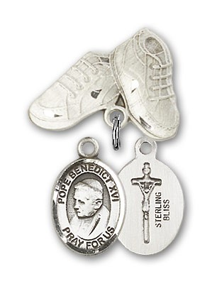 Baby Badge with Pope Benedict XVI Charm and Baby Boots Pin - Silver tone