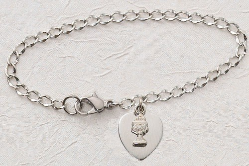 "Silver Heart and Chalice First Communion Bracelet - 6 1/2""L - Silver"