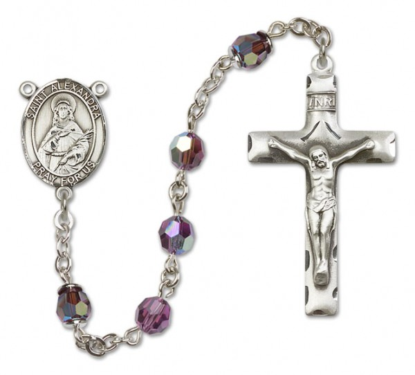 St. Alexandra Rosary Heirloom Squared Crucifix - Amethyst