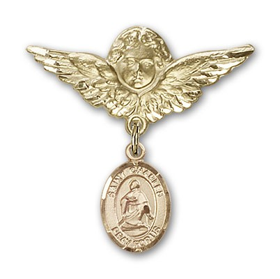 Pin Badge with St. Charles Borromeo Charm and Angel with Larger Wings Badge Pin - 14K Yellow Gold