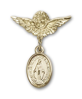 Baby Pin with Miraculous Charm and Angel with Smaller Wings Badge Pin - Gold Tone