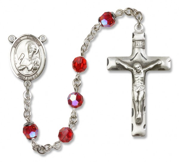 St. Andrew the Apostle Sterling Silver Heirloom Rosary Squared Crucifix - Ruby Red