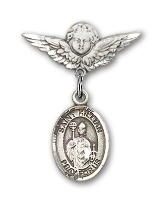 Pin Badge with St. Kilian Charm and Angel with Smaller Wings Badge Pin - Silver tone