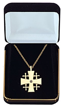 Jerusalem Cross Pendant with Gemstone Centerpiece - Gold Tone