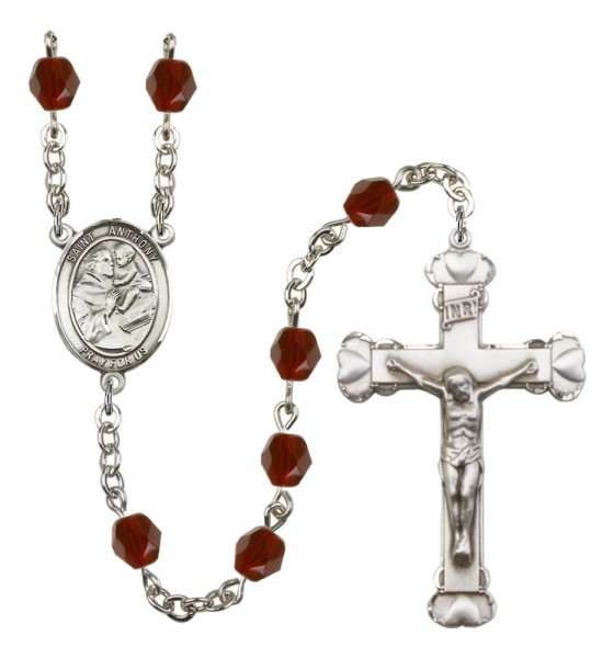 Women's St. Anthony of Padua Birthstone Rosary - Garnet
