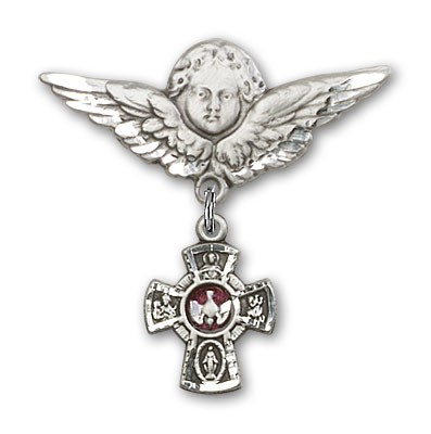 Pin Badge with Red 5-Way Charm and Angel with Larger Wings Badge Pin - Silver | Red