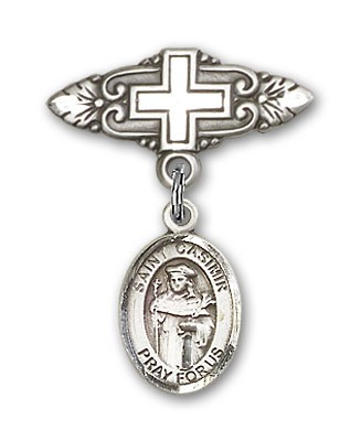Pin Badge with St. Casimir of Poland Charm and Badge Pin with Cross - Silver tone
