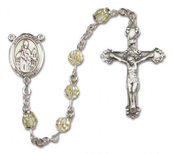 St. Walter of Pontnoise Rosary Heirloom Fancy Crucifix - Jonquil