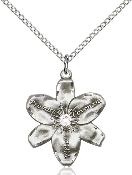 Large Five Petal Chastity Pendant with Birthstone Center - Crystal