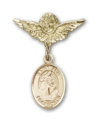 Pin Badge with St. Ann Charm and Angel with Smaller Wings Badge Pin - 14K Yellow Gold