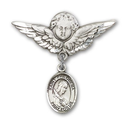 Pin Badge with St. Philomena Charm and Angel with Larger Wings Badge Pin - Silver tone