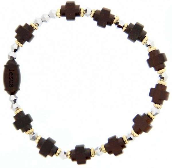 Jujube Wood Cross Bead Rosary Bracelet - 8mm - Brown | Silver
