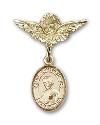 Pin Badge with St. John Neumann Charm and Angel with Smaller Wings Badge Pin - 14K Yellow Gold