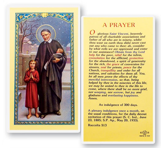 Prayer To St. Vincent De Paul Laminated Prayer Cards 25 Pack - Full Color