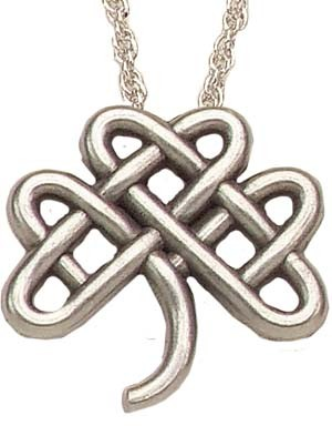 "Celtic Clover Knot Pendant - 1""H - Antique Silver"